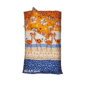 SCANquilt - povlečení KLASIK žirafy oranžovomodrá 140 x 200/70 x 90 cm - Povlečení SCANquilt