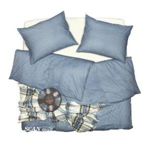 SCANquilt - povlečení KLASIK kostička modrá 140 x 200/70 x 90 cm - Povlečení SCANquilt