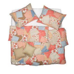 SCANquilt - povlečení KLASIK patchwork lososová 140 x 200/70 x 90 cm - Povlečení SCANquilt