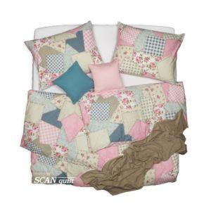 SCANquilt - povlečení KLASIK patchwork růžová 140 x 200/70 x 90 cm - Povlečení SCANquilt