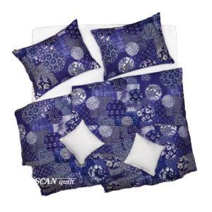 SCANquilt - povlečení KLASIK DESIGN batic modrá 140 x 200/70 x 90 cm - Povlečení SCANquilt