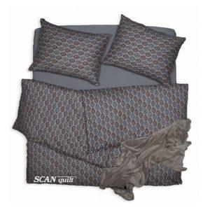 SCANquilt - povlečení KLASIK DESIGN azték béžovotmavěmodrá 140 x 200/70 x 90 cm - Povlečení SCANquilt