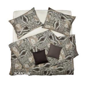 SCANquilt - povlečení KLASIK DESIGN patch ethno šedobéžová 140 x 200/70 x 90 cm - Povlečení SCANquilt