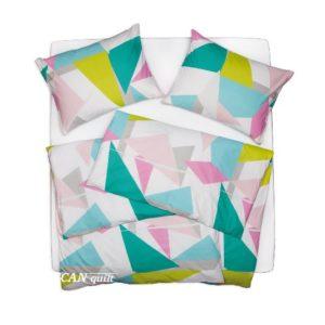 SCANquilt - povlečení KLASIK DESIGN triangles pastelová 140 x 200/70 x 90 cm - Povlečení SCANquilt