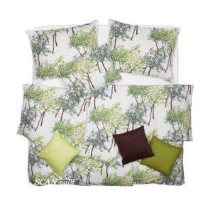 SCANquilt - povlečení KLASIK DESIGN spring trees bílozelená 140 x 200/70 x 90 cm - Povlečení SCANquilt