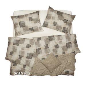 SCANquilt - povlečení KLASIK DESIGN squares béžovobíločerná 140 x 200/70 x 90 cm - Povlečení SCANquilt