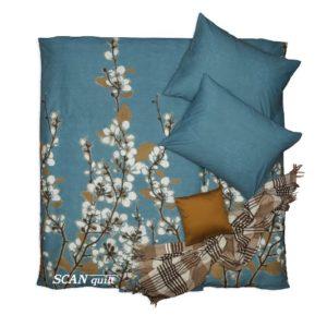 SCANquilt - povlečení KLASIK DESIGN cottona tyrkysovobílohnědá 240 x 200/2 x 70 x 90 cm - Povlečení SCANquilt