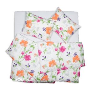 SCANquilt - povlečení KREP květiny bílooranžovorůžová 140 x 220/70 x 90 cm - Povlečení SCANquilt