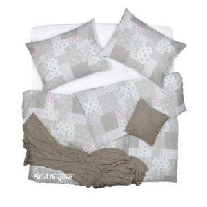 SCANquilt - povlečení KREP patchwork béžová 140 x 200/70 x 90 cm - Povlečení SCANquilt