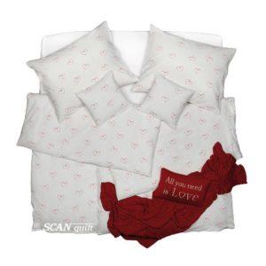 SCANquilt - povlečení KREP srdce bíločervená 140 x 200/70 x 90 cm - Povlečení SCANquilt