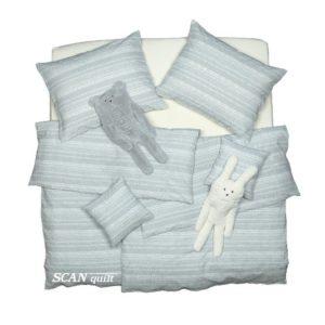 SCANquilt - povlečení KREP krajka pruhy šedobílá 140 x 200/70 x 90 cm - Povlečení SCANquilt