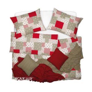 SCANquilt - povlečení KREP patchwork červenobéžová 140 x 200/70 x 90 cm - Povlečení SCANquilt