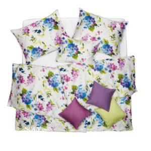 SCANquilt - povlečení SATÉN DESIGN hortensie bílopestrá 240 x 200/2 x 70 x 90 cm - Povlečení SCANquilt