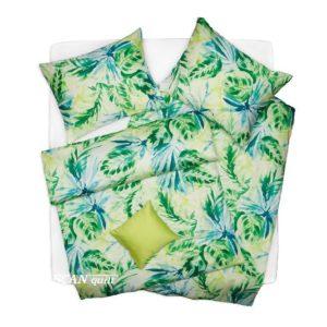 SCANquilt - povlečení SATÉN PLUS palmový list zelenotyrkysová 140 x 220/70 x 90 cm - Povlečení SCANquilt