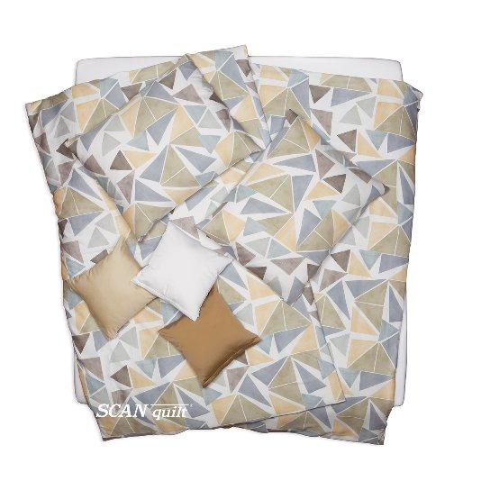 SCANquilt - povlečení SATÉN PLUS triangles bílobéžovošedá 140 x 200/70 x 90 cm - Povlečení SCANquilt