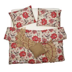 SCANquilt - povlečení SATÉN PLUS červené květy béžovočervená 140 x 200/70 x 90 cm - Povlečení SCANquilt