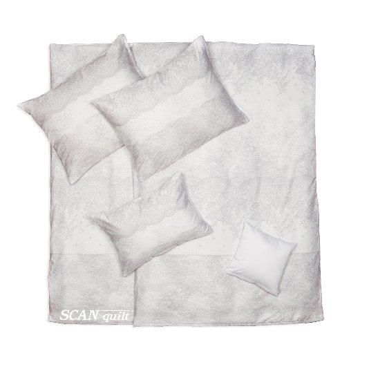 SCANquilt - povlečení SATÉN PLUS krajka sv. šedá 140 x 200/70 x 90 cm - Povlečení SCANquilt
