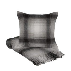 SCANquilt - vlněný pléd LAMB káro šedočerná 130 x 190 cm - Atraktivní plédy a přehozy