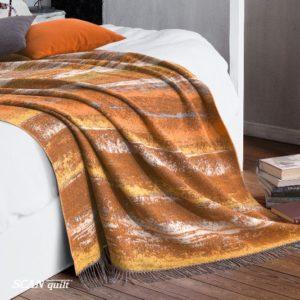 SCANquilt - vlněný pléd LAMB SOFT litorale oranžovohnědá 130/140 x 190cm - Atraktivní plédy a přehozy