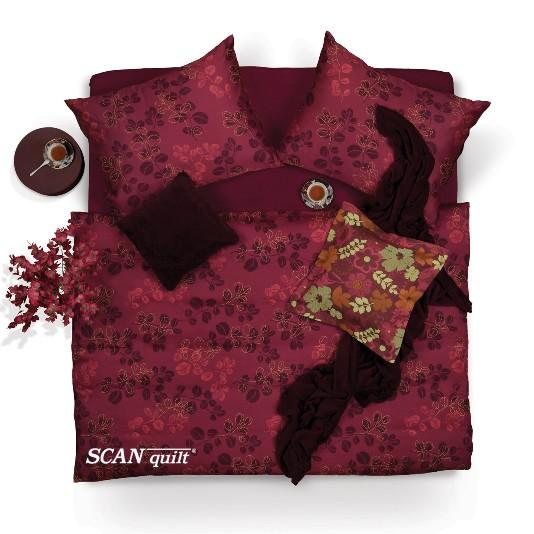 SCANquilt - povlečení SATÉN PLUS lístky vínová 240 x 200/2 x 70 x 90 cm - Atraktivní plédy a přehozy