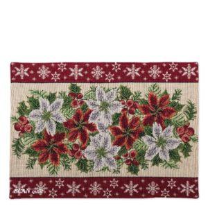 SCANquilt - prostírání MOTIV vánoční hvězda bordura červenobéžová 32 x 135 cm - Atraktivní plédy a přehozy