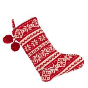 SCANquilt - vánoční punčocha SUOMI vločky červená 30 x 42 cm - Atraktivní plédy a přehozy