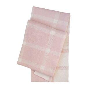 SCANquilt - pletený pléd DESIGN káro růžovosmetanová 130 x 190 cm - Atraktivní plédy a přehozy