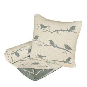 SCANquilt - pletený pléd DESIGN ptáci smetanovošedá 130 x 190 cm - Atraktivní plédy a přehozy