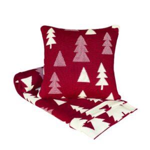 SCANquilt - pletený pléd SUOMI stromečky červenosmetanová 130 x 190 cm - Atraktivní plédy a přehozy
