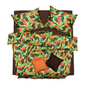 SCANquilt - povlečení ART JERSEY retro zelenohnědooranžová 140 x 200/70 x 90 cm - Povlečení SCANquilt