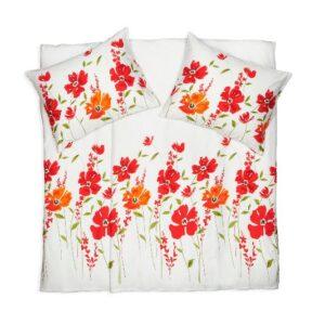 SCANquilt - povlečení SATÉN DESIGN art poppy bíločervená 140 x 200/70 x 90 cm - Povlečení SCANquilt