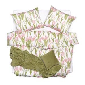 SCANquilt - povlečení SATÉN DESIGN tulips lososovozelená 240 x 200/2 x 70 x 90 cm - Povlečení SCANquilt