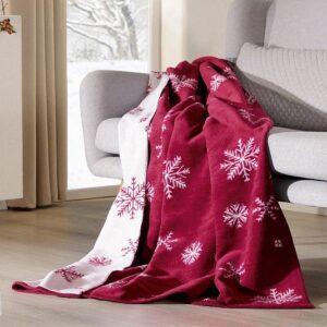 SCANquilt - přehoz VELURO snowflakes červenobílá 150 x 200 cm - Atraktivní plédy a přehozy