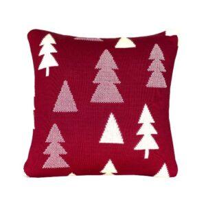 SCANquilt - pletený povlak SUOMI stromečky červenosmetanová 30 x 50 cm - Atraktivní plédy a přehozy