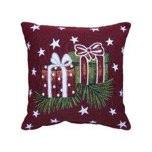 SCANquilt - povlak MOTIV vánoční dárky červenozelená 40 x 40 cm - Atraktivní plédy a přehozy