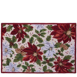 SCANquilt - prostírání MOTIV vánoční hvězda bíločervená 45 x 140 cm - Atraktivní plédy a přehozy