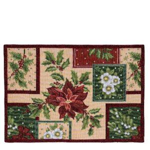 SCANquilt - prostírání MOTIV LUREX vánoční patch červenozlatá 32 x 135 cm - Atraktivní plédy a přehozy