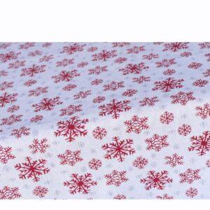 SCANquilt - ubrus MOTIV vločky bíločervená 130 x 220 cm - Atraktivní plédy a přehozy