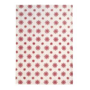 SCANquilt - utěrka DEKORO vločky béžovočervená 50 x 70 cm - Atraktivní plédy a přehozy